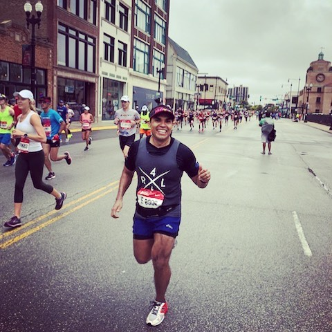 Our second LP runner of the day, David Barajas Cervantes, crossing the finish line! ?  Congratulations, David- member of our legal services team! #Run4Latinos #TeamLatinos