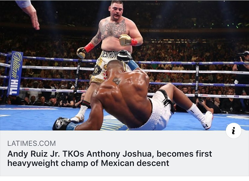 """Huge shout out to Andy Ruiz Jr. on becoming the first heavyweight champ of Mexican descent! The son of an immigrant contractor, Ruiz said victory came """"because of the Mexican warrior I am. I have that Mexican blood in me."""" #MEXtalksMonday . . . Read the full story in LINK IN BIO. @andy_destroyer13"""