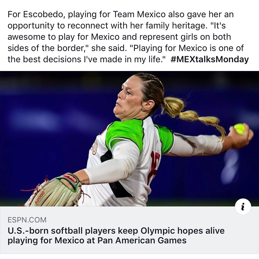 "For Escobedo, playing for Team Mexico also gave her an opportunity to reconnect with her family heritage. ""It's awesome to play for Mexico and represent girls on both sides of the border,"" she said. ""Playing for Mexico is one of the best decisions I've made in my life."" #MEXtalksMonday . . . Link in bio"