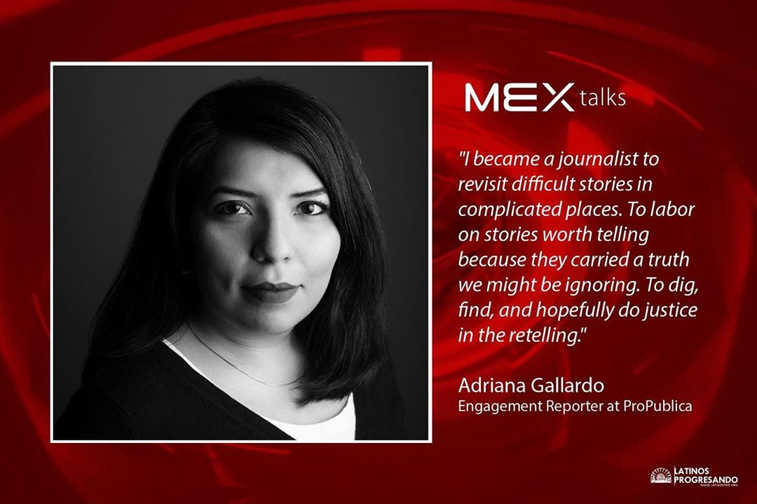 Let's continue following the #RoadtoMEXtalks with our speaker spotlight on Chicagoan Adriana Gallardo who has long specialized in community journalism. Her reporting has contributed to several awards including a Goldsmith Prize for investigative reporting, a George Polk Award, a Peabody and a Pulitzer Prize finalist series for explanatory reporting on maternal mortality in the U.S. Join her and four other phenomenal speakers at MEX talks 2019 on September 12th at Venue SIX10. Get your tickets today: latinospro.org/mex-talks