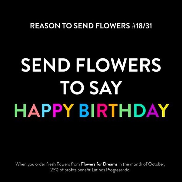 Do you know someone with a birthday this month? Send them flowers to celebrate! @flowersfordreams is donating 25% of October profits back to LP.