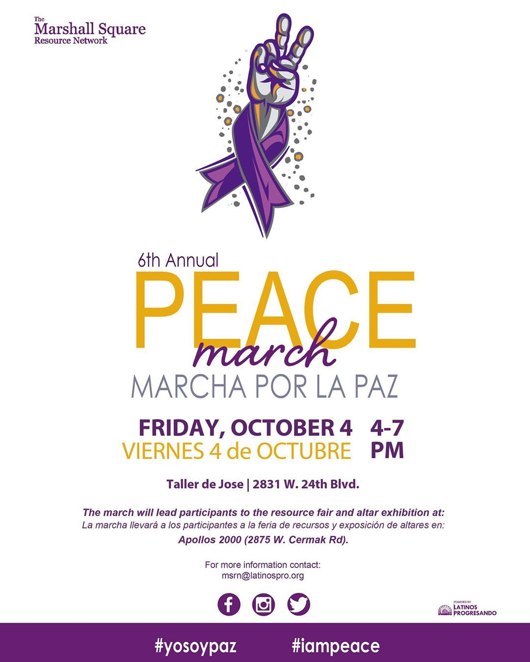 Join the Marshall Square Resource Network to walk for Peace, remember and honor victims of Domestic Violence and to take a stand against domestic violence and all forms of violence which afflict our homes and neighborhoods at the annual Peace March this Friday!