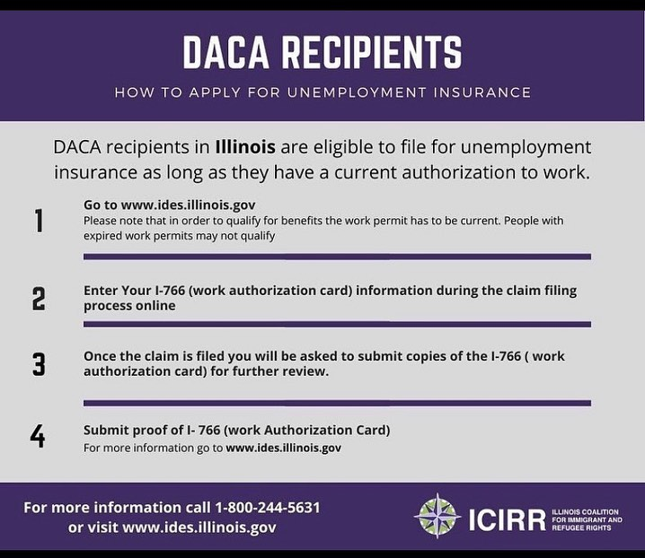 DACA recipients with an active work permit are eligible for unemployment insurance. Thank you @icirr_il for creating this helpful tool on how they can apply.  Los beneficiarios de DACA con un permiso de trabajo activo son elegibles para el seguro de desempleo. Gracias @icirr_il por crear esta útil herramienta sobre cómo pueden aplicar.